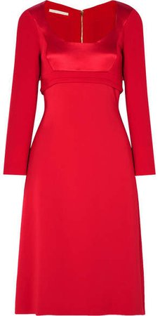 Wool-crepe, Cady And Satin Midi Dress - Red