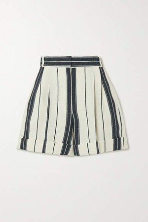 Striped Linen And Cotton-blend Shorts - Ivory