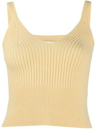 Yellow Sandro Paris Twiny ribbed knit top SFPPU00895 - Farfetch
