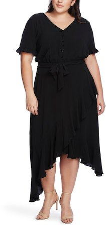 Ruffle Belted Asymmetrical Hem Dress