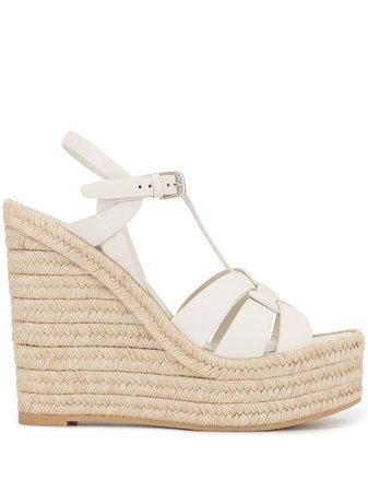 Shop Saint Laurent Tribute wedge sandals with Express Delivery - FARFETCH