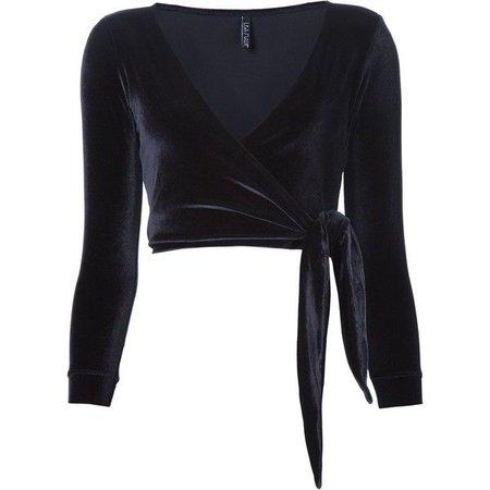 Ballet-Style Long-Sleeved Velvet Shirt