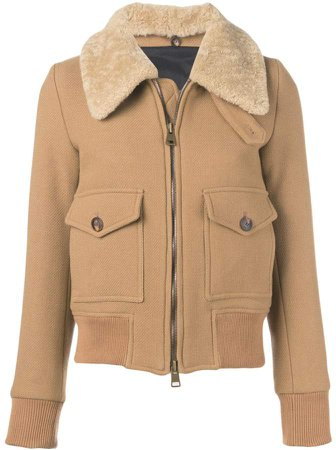 Zipped Jacket With Shearling Collar