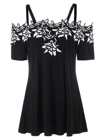 [35% OFF] Cold Shoulder Contrast Lace Applique T-shirt   Rosegal
