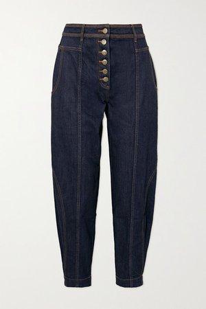 Keaton High-rise Tapered Jeans - Mid denim