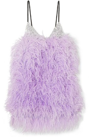 Attico | Feather-embellished sequined tulle mini dress | NET-A-PORTER.COM