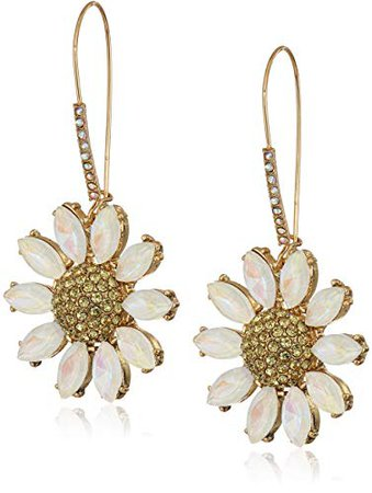Betsey Johnson Women's Pave Daisy Flower Long Drop Earrings, Yellow, One Size: Jewelry