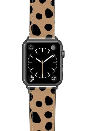Casetify Cheetah Dots Saffiano Faux Leather Apple Watch® Strap | Nordstrom