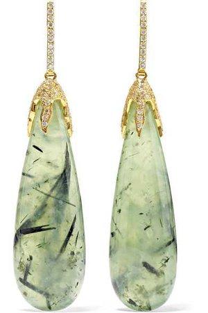 Kimberly McDonald | 18-karat gold, prehnite and diamond earrings | NET-A-PORTER.COM