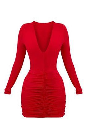 Shape Red Slinky Ruched Mini Dress . PLT Shape | PrettyLittleThing