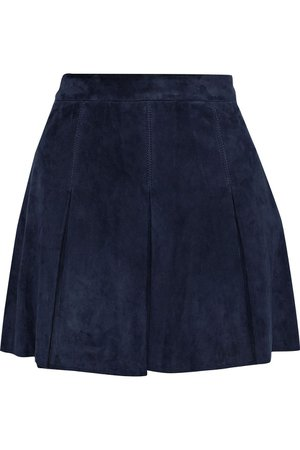 Navy Lee pleated suede mini skirt | Sale up to 70% off | THE OUTNET | ALICE + OLIVIA | THE OUTNET