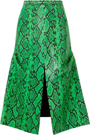 Snake-effect Leather Midi Skirt - Green