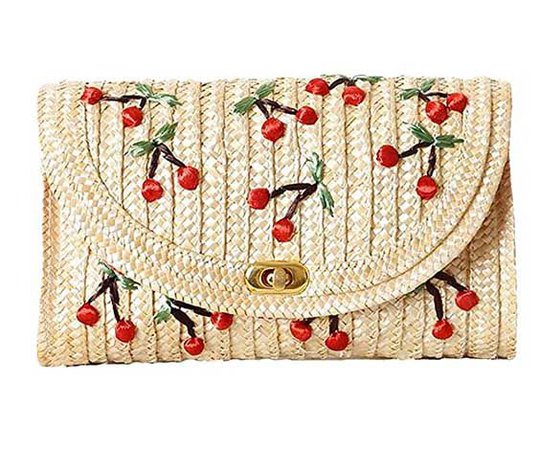 Collectif Cherry Straw Shoulder Bag