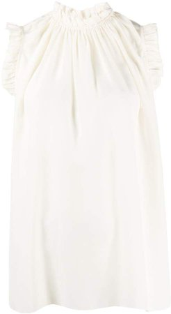 frill-trim sleeveless top