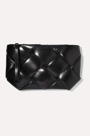 Pouch Padded Intrecciato Textured-leather Clutch - Black