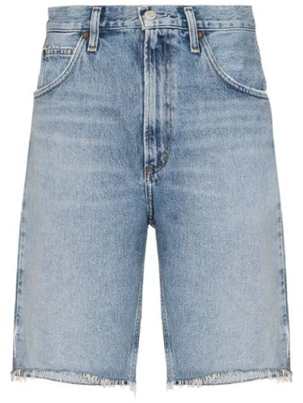 AGOLDE Frayed Denim Shorts - Farfetch