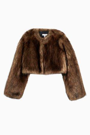 Brown Cropped Faux Fur Coat   Topshop