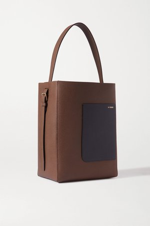 Brown Secchiello two-tone textured-leather shoulder bag | Valextra | NET-A-PORTER