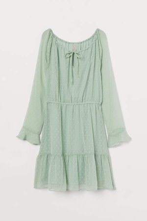 Short Chiffon Dress - Green