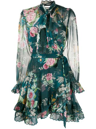Zimmermann Tie Neck Floral Print Dress - Farfetch