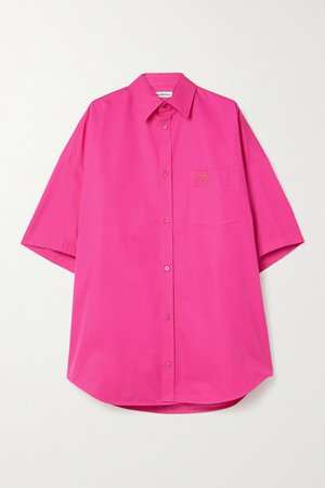 Oversized Embroidered Cotton-poplin Shirt - Bright pink