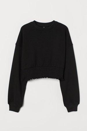Smocked-hem Sweatshirt - Black - Ladies | H&M US