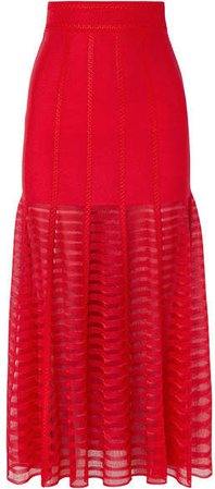 Paneled Lace And Open-knit Midi Skirt - Red