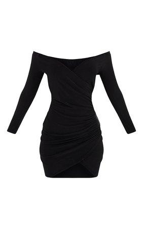 Shape Black Ruched Bardot Bodycon Dress | PrettyLittleThing USA