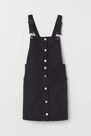 Cotton Twill Bib Overall Dress - Black