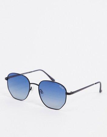 Quay Australia Big Time hexagonal sunglasses in black with blue lens | ASOS