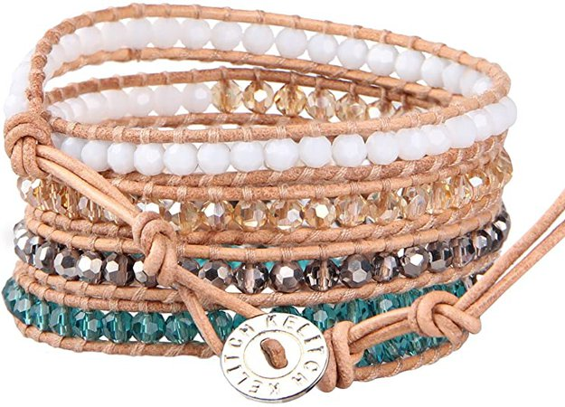 KELITCH Fashion Color Crystal Mix Beaded 5 Wrap Bracelet On Natural Leather Handmade New Women Jewelry (Color Crystal 2): Jewelry