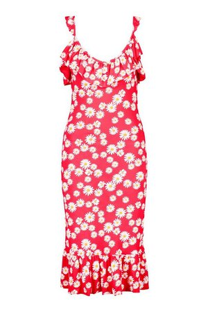 Daisy Ruffle Detail Midi Dress | boohoo