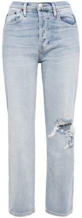 Cropped Frayed Mid-rise Straight-leg Jeans