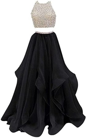 Two Piece Beaded Floor Length Organza Evening Gown Prom Dresses: Clothing