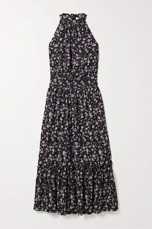 Gathered Tiered Floral-print Georgette Midi Dress - Black
