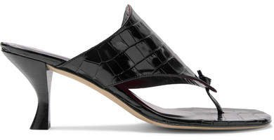 Keith Croc-effect Leather Mules - Black