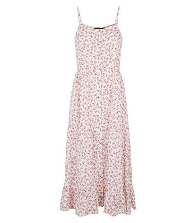 White Floral Print Button Front Midi Dress | New Look