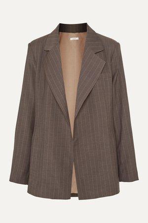 Brown + NET SUSTAIN pinstriped wool blazer   aaizél   NET-A-PORTER