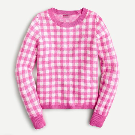 J.Crew: Cashmere Crewneck Sweater In Gingham For Women