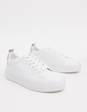 Pull&Bear lace front sneakers in white | ASOS