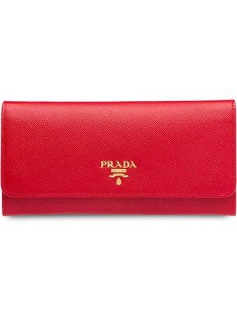 Prada logo-plaque continental wallet red 1MH132QWA - Farfetch