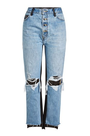Cropped Jeans with Leather Gr. 27