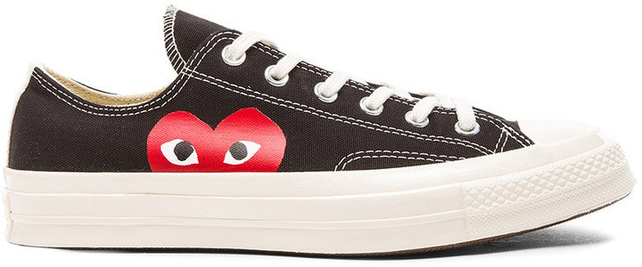 Converse Large Emblem Low Top Canvas Sneakers in Black | FWRD