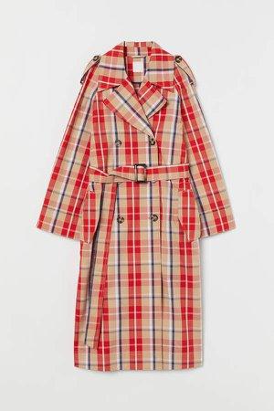 Plaid Cotton Trenchcoat - Orange