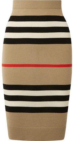 Striped Merino Wool Skirt - Beige