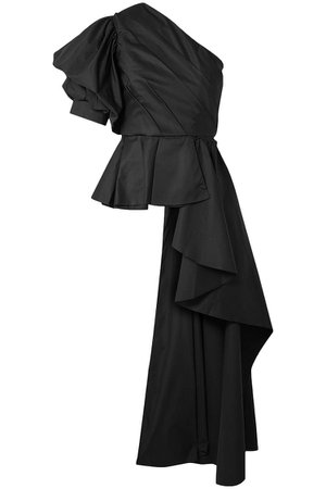 Black Pampas one-shoulder ruffled cotton-blend poplin top | Sale up to 70% off | THE OUTNET | JOHANNA ORTIZ | THE OUTNET