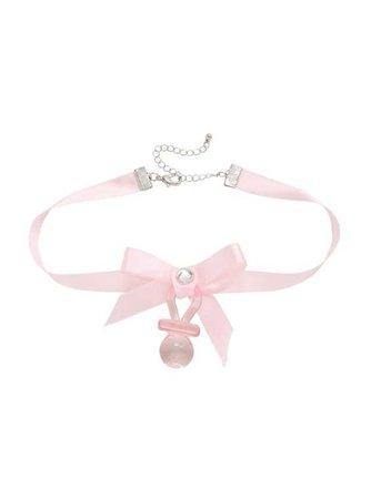 Blackheart Pink Pacifier Choker,