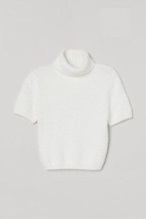 Fluffy Turtleneck Sweater - White - Ladies   H&M US