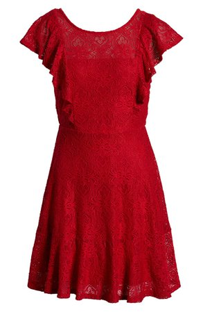 Speechless Ruffle Sleeve Lace Fit & Flare Minidress | Nordstrom