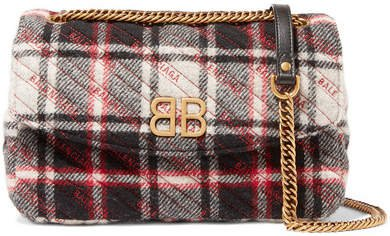 Bb Medium Checked Quilted Wool Shoulder Bag - Red